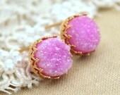 Druzy earrings Pink gold  Druzy stud earrings,gem stone earrings,gift for woman, Agate druzy studs - 14k Gold filled Crown Lace setting .