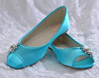 Wedding Shoes, Custom Colors, Flat Peep Toe Shoes, Bridal Shoes,