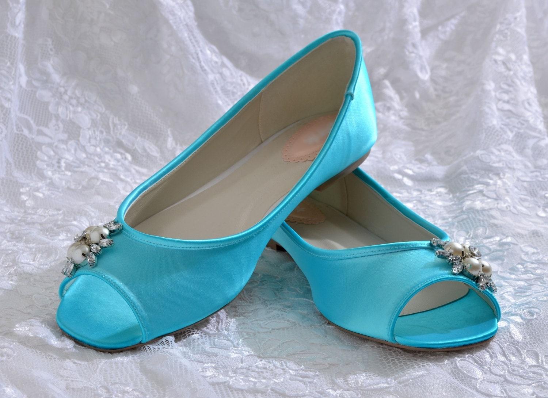 Wedding Shoes Custom Colors Flat Peep Toe Shoes Bridal
