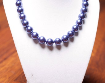 Eggplant Purple Glass Pearl Necklace