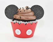 Mickey Pants Cupcake Wraps - 24 count - Standard or Mini size - with real buttons