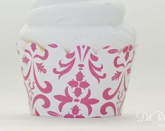 Hot Pink Vintage Damask Cupcake Wraps - Standard or Mini Size - Set of 24