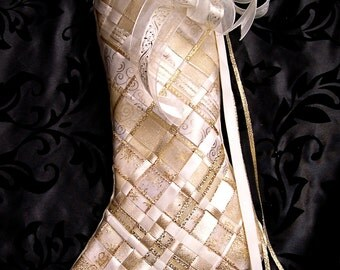 Woven Ribbon Stocking in Champagne and Gold