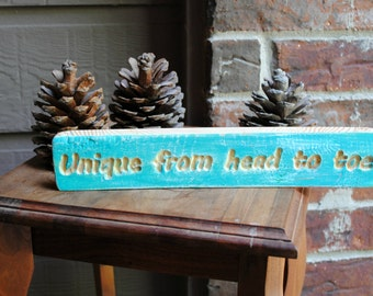 Unique from head to toe Carved Reclaimed Wood Sign