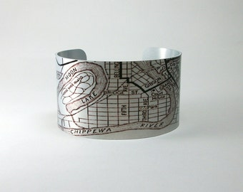 Eau Claire Wisconsin Map Cuff Bracelet Custom City Hometown Gift for Men or Women