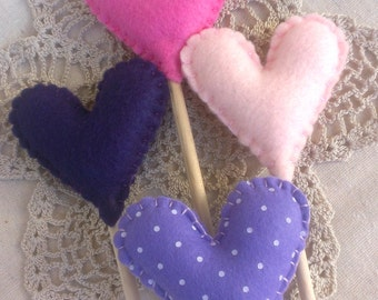 Small Felt Heart Toppers Made To Order