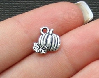 15 Pumpkin Charms Antique  Silver Tone 2 Sided - SC1374