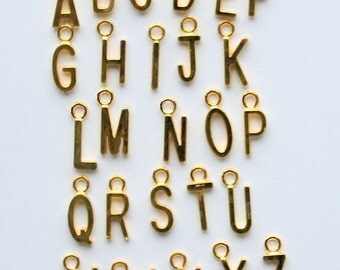 1 Set of 26 Alphabet Gold Tone Letter Charms Great for So Many Projects - SC1049
