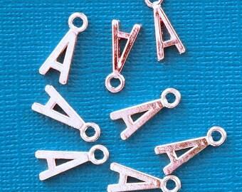 8 Letter A Alphabet Charms Antique Silver Tone - SC2625