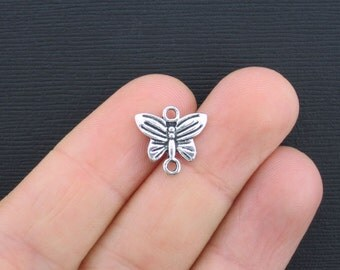 10 Butterfly Connector Charms Antique Silver Tone - SC2575