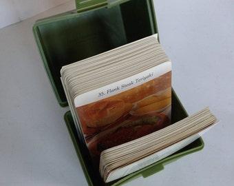"Vintage Recipe Cards and Box - ""Dinner is Served"" Avocado Green Original Plastic Box 118 Recipes - Retro Kitchen"