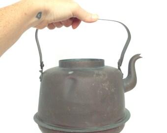 SALE Vintage ROTHBERG Oy TURKU Copper Tea Kettle - Made in Finland 2.5 Qt. - Rustic Antique Home Decor