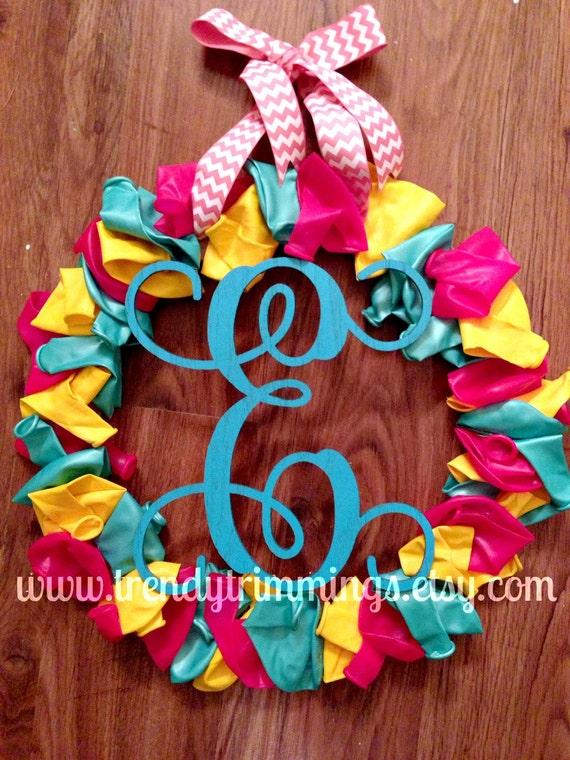 "Small 8"" Monogram Letter- Interlocking Script Initial- Wooden Monogram- for ornament, wedding, anniversary, wreath accent- unpainted"