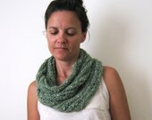 Hand Knitted Scarf Cowl Light Green