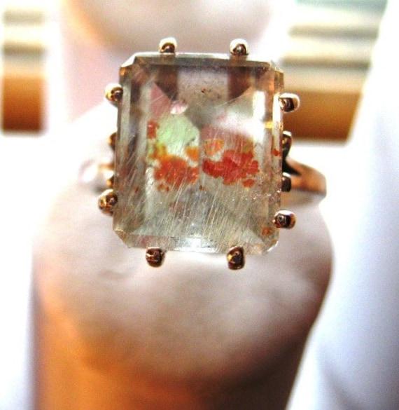 Keepin it Weird /Strawberry Quartz emerald cut ring in Sterling