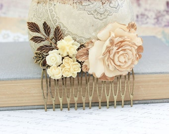 Bridal Hair Comb Wedding Accessories Flower Collage Shabby Country Large Cream Ivory Rose Antique Gold Brass Leaves Bridal Hair Accessories