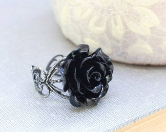 Black Rose Ring Flower Cocktail Ring Antique Silver Lace Filigree Ring Adjustable Ring Dark Romance Gothic Jewellery Modern Romantic