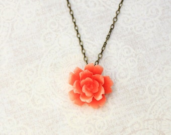 Coral Rose Necklace Romantic Floral Jewellery Orange Coral Jewelry Garden Wedding Bridesmaids Necklace Flower Pendant Bridal Accessories