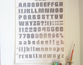 "Vintage Typography Poster - Large Gray Alphabet and Numeral Page From Newspaper Advertising Service Book - 16 1/2"" x 22"" (Pg 25)"
