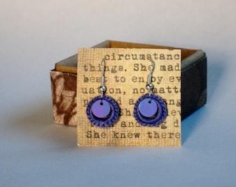 Lavender Purple Crochet Mini Dangle Hoop Earrings