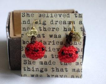 Crocheted Kawaii Red Cherry Earrings