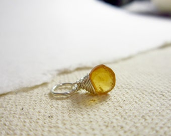 Sm Md Hessonite Garnet Charm - Burnt Orange Jewelry - January Birthstone - Sterling Silver Wire Wrapped - Natural Stone Charm