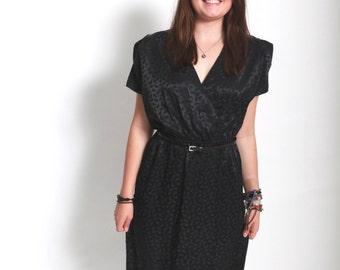 Vintage 1980s sheer black leaf print secretary dress medium