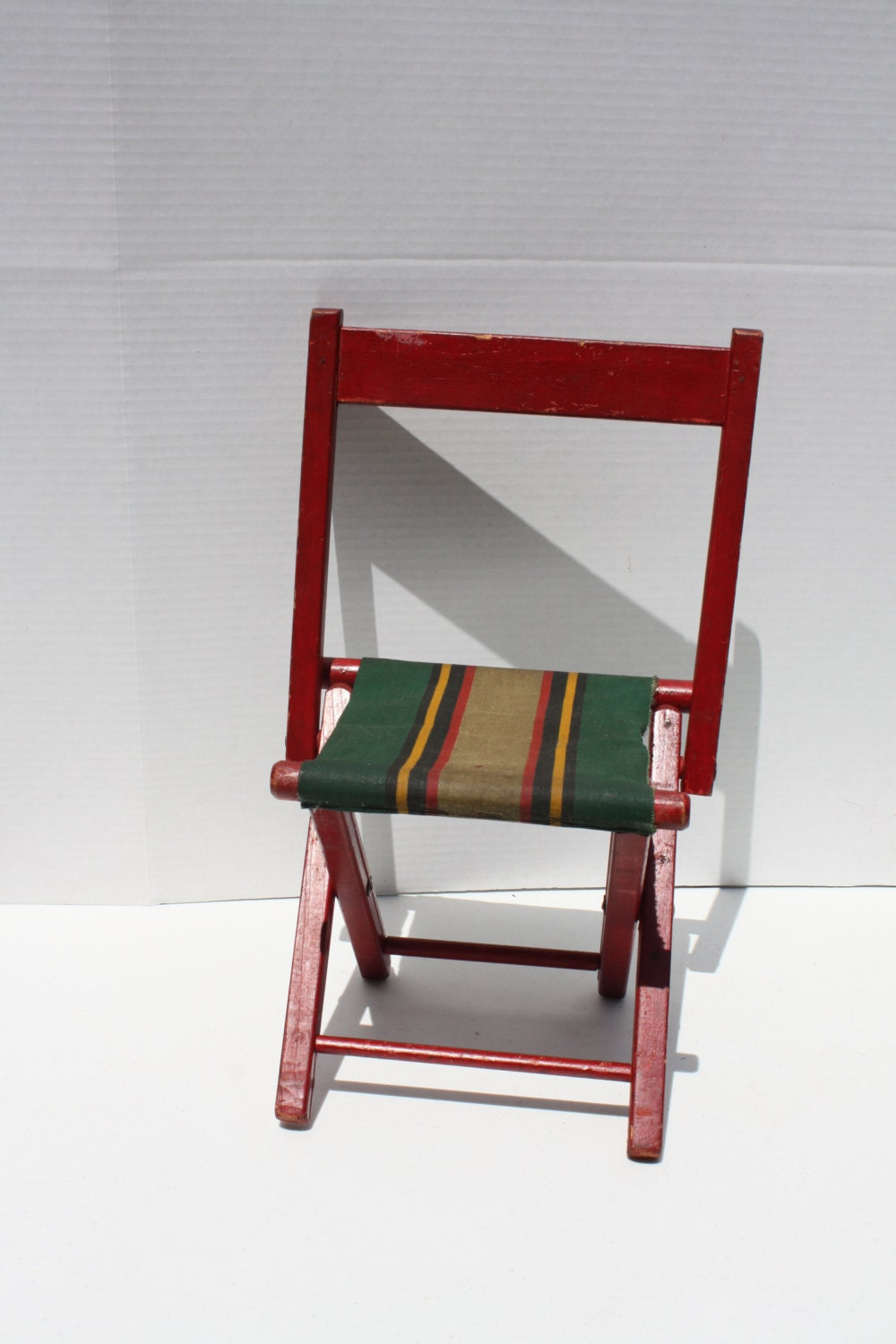 Vintage Red Wood Canvas Fold Up Child s Chair