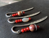 Beaded Metal Bookmarks- Reading in Red - Picasso Jasper, Gray Agate and Red Glass- Set of 3