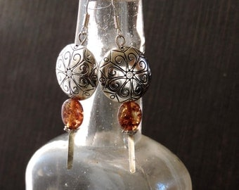 Amber Drops - Baltic Amber and Silver Dangle Earrings