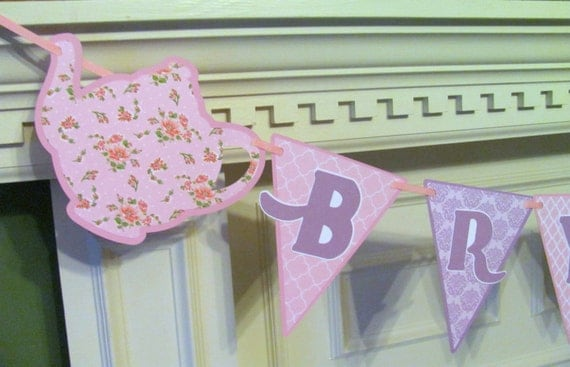 Tea Party Personalized Name Banner in Shabby Country Chic Pink and Lavender
