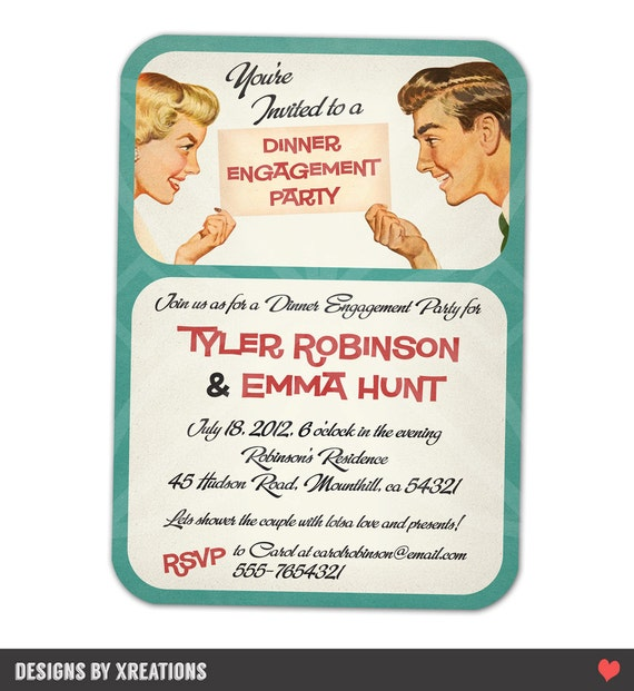 Retro Themed Wedding Shower Invitation - Couple Shower Invitation - Digital File - Customizable Wordings - Print-your-own