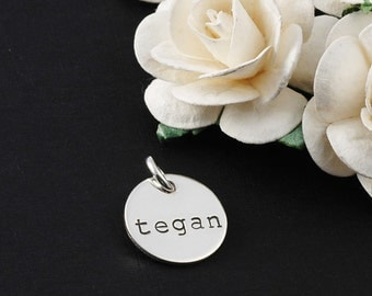 """Add a Charm - 1/2"""" tiny sterling silver round disc - half inch - Double Sided"""