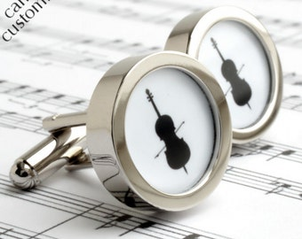 Cello Cufflinks in Black and White Silhouette for Musicians PC252