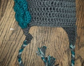 Crochet Hat with a flower, Ear Flaps and Braids- gray and teal