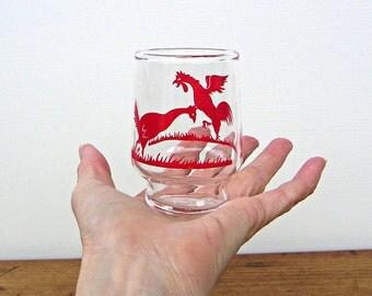 Rooster Chasing Hen Vintage Juice Glass
