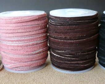 3mm Leather Suede, Cowhide, Lace, Leather Thong, Jewellery making, Leather craft, Beading 25m Full Reel Spool Brown Larp