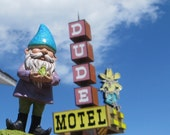 "Gnomad at the Dude Motel (3"" x 4"" framed photograph) -gnome, garden gnome, vacation, road trip, Montana, Wyoming, silly, The Dude-"