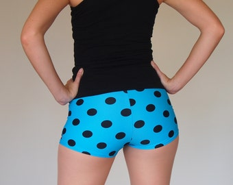 Turquoise Polka Dot Roller Derby Shorts - sizes S in stock