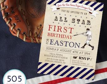 Baseball Invitation -  Vintage Baseball Party Invitation by 505 Design, Inc