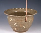 Olive Green and Gold Thread Pot