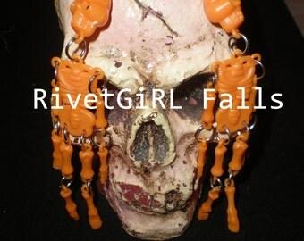 Orange Skeleton earrings