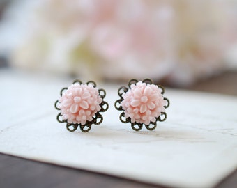 Lace Filigree Pink Flower Post Earrings. Available in Blue Flower Green Flower Lilac Flower. Wedding Bridal Earrings, Bridesmaid Gift