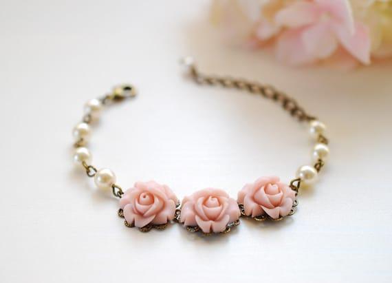 Powder Pink Roses Cream Ivory Pearls Bracelet. Trio Pink Roses Swarovski Pearls Adjustable Bracelet. Wedding Bridal Bridesmaid Bracelet