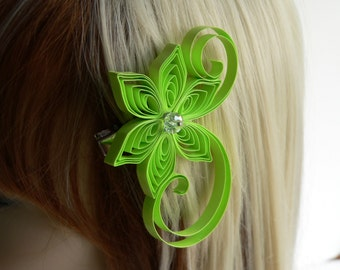 Chartreuse Green Wedding Hair Clip, Limeade Wedding, Chartreuse Wedding Hair Accessory