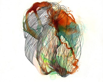 """Element I / Giclee print / 8.5"""" x 11"""" / contemporary art / organic drawing / nature drawing / cells / microscopic / lines / brown / green"""
