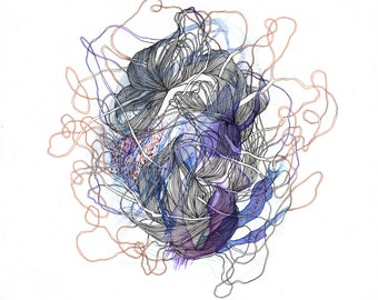 Element II / Giclee print / purple / organic tangle / nature / abstract drawing / animals / botany / bones / delicate / microscopic / tangle