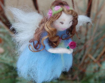 Needle Felted Fairy. Waldorf Fairy. Waldorf Doll. Angel Christmas Ornament. Blue Fairies. Blue Flower Fairies. Needle Felted Fairies