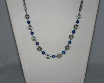Stainless Steel Nut and Blue Pearl Necklace - Upcycled Hardware Geek Jewelry