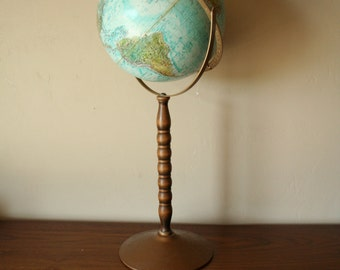 Vintage Standing Replogle 12 Inch Reference World Ocean Series Globe - Double Axis - Made in USA - Classroom - Homeschool - Man Cave Decor